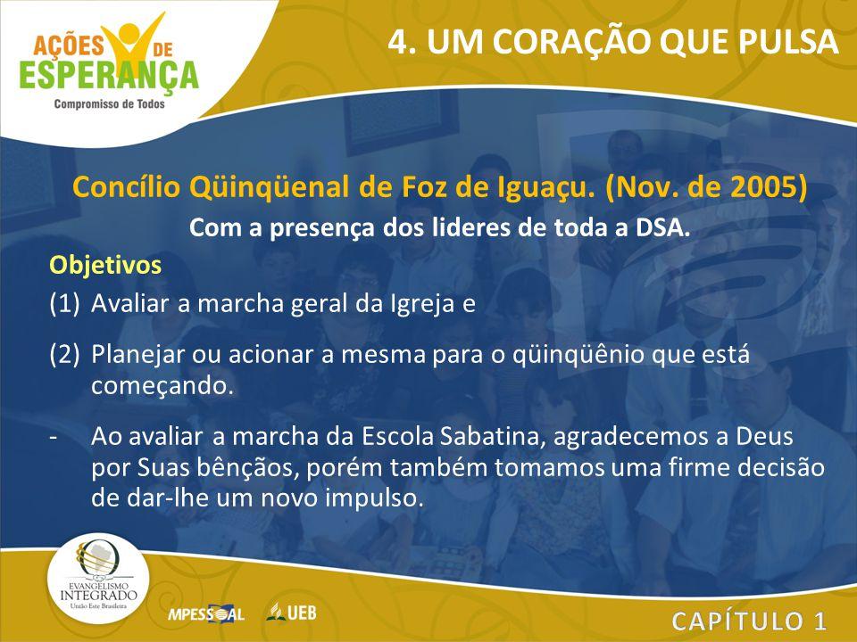 Concílio Qüinqüenal de Foz de Iguaçu. (Nov. de 2005) Com a presença dos lideres de toda a DSA. Objetivos (1)Avaliar a marcha geral da Igreja e (2)Plan