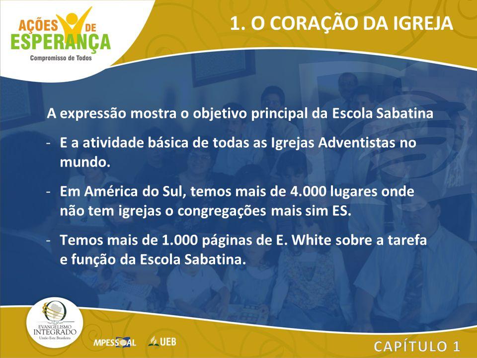 A expressão mostra o objetivo principal da Escola Sabatina -E a atividade básica de todas as Igrejas Adventistas no mundo. -Em América do Sul, temos m