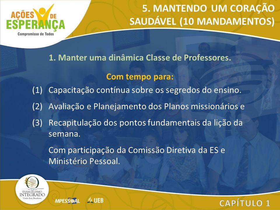 1. Manter uma dinâmica Classe de Professores. Com tempo para: (1)Capacitação contínua sobre os segredos do ensino. (2)Avaliação e Planejamento dos Pla
