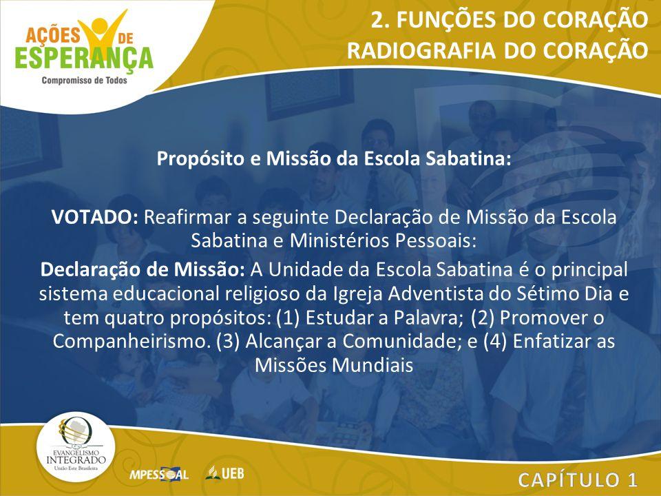 Propósito e Missão da Escola Sabatina: VOTADO: Reafirmar a seguinte Declaração de Missão da Escola Sabatina e Ministérios Pessoais: Declaração de Miss