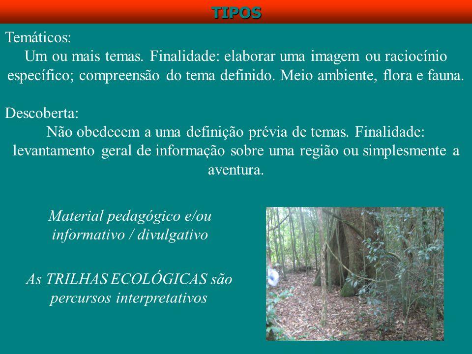 TRILHAS ECOLÓGICAS INTERPRETATIVAS É uma ferramenta da Educação Ambiental É um instrumento pedagógico muito importante É um percurso orientado metodológicamente