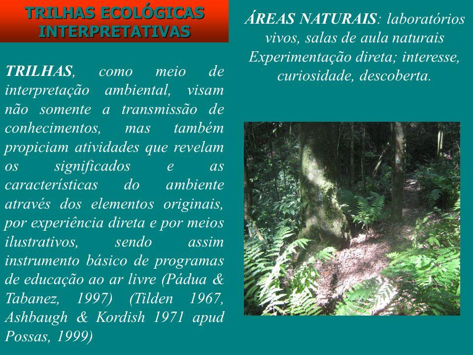 TRILHAS ECOLÓGICAS INTERPRETATIVAS TRILHAS, como meio de interpretação ambiental, visam não somente a transmissão de conhecimentos, mas também propici