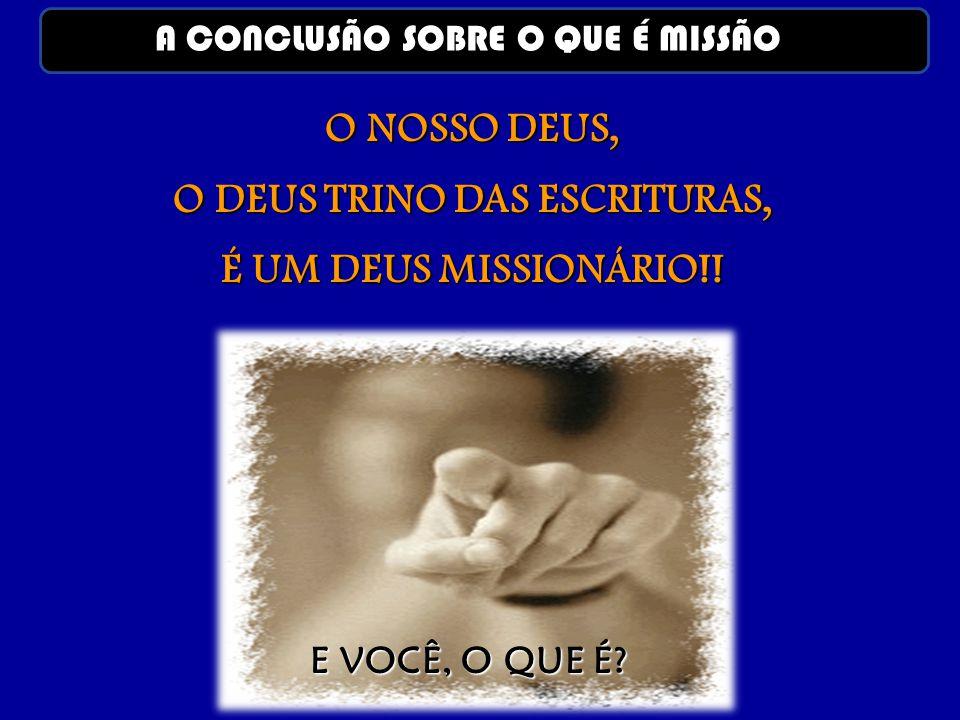 O NOSSO DEUS, O DEUS TRINO DAS ESCRITURAS, É UM DEUS MISSIONÁRIO!! E VOCÊ, O QUE É? A CONCLUSÃO SOBRE O QUE É MISSÃO