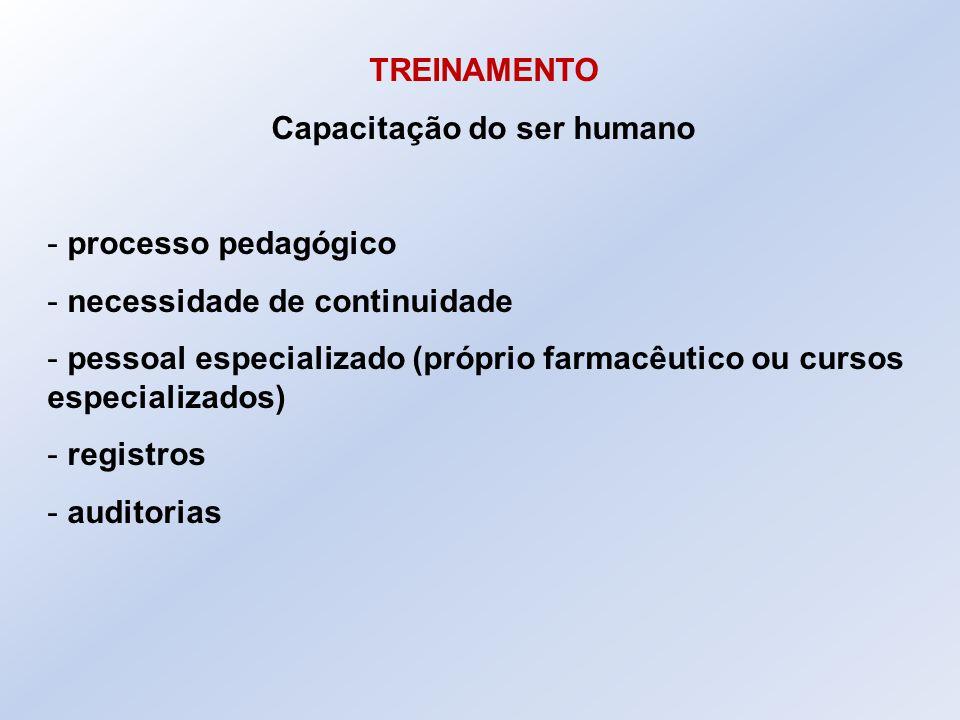 TREINAMENTO Capacitação do ser humano - processo pedagógico - necessidade de continuidade - pessoal especializado (próprio farmacêutico ou cursos espe