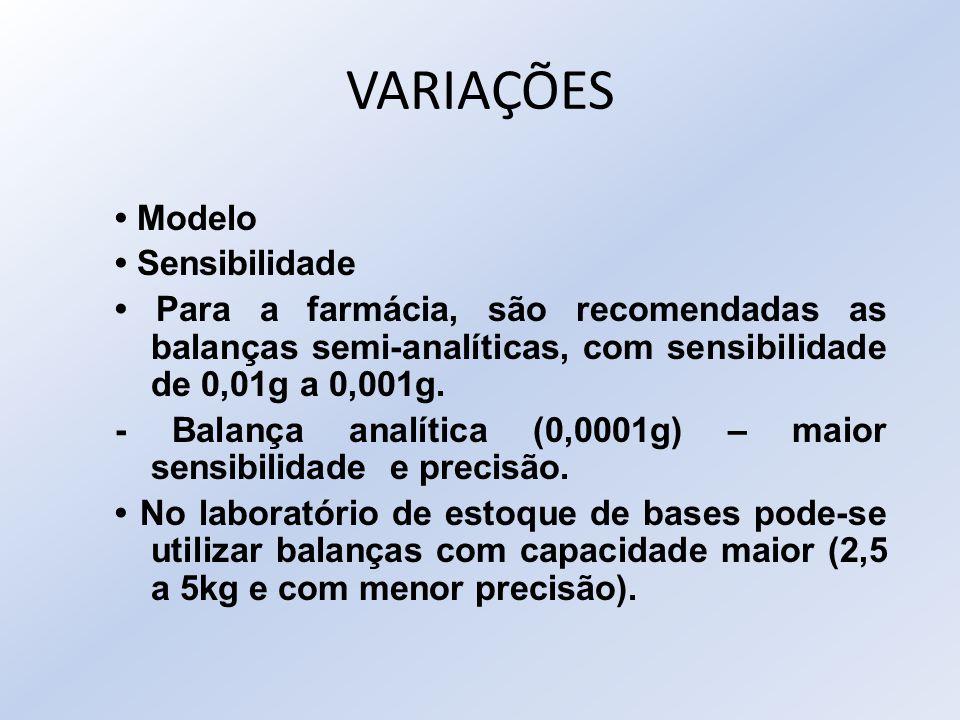 VARIAÇÕES Modelo Sensibilidade Para a farmácia, são recomendadas as balanças semi-analíticas, com sensibilidade de 0,01g a 0,001g. - Balança analítica
