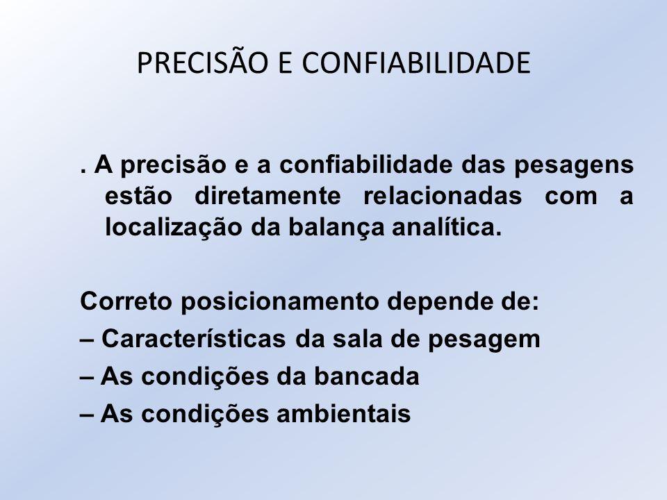 PRECISÃO E CONFIABILIDADE. A precisão e a confiabilidade das pesagens estão diretamente relacionadas com a localização da balança analítica. Correto p