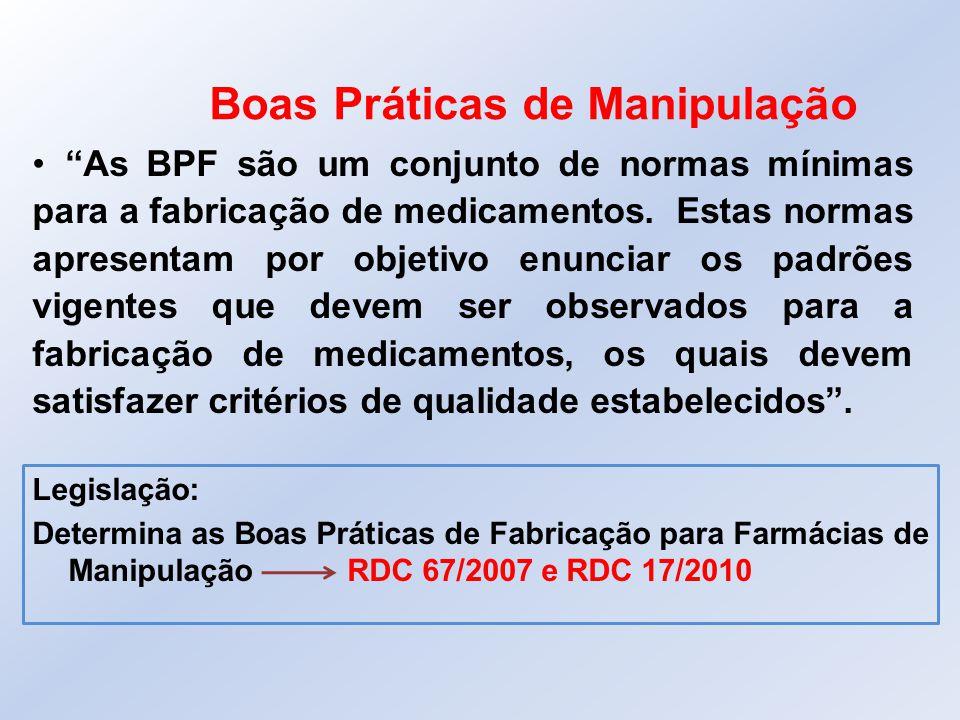 """Boas Práticas de Manipulação """"As BPF são um conjunto de normas mínimas para a fabricação de medicamentos. Estas normas apresentam por objetivo enuncia"""