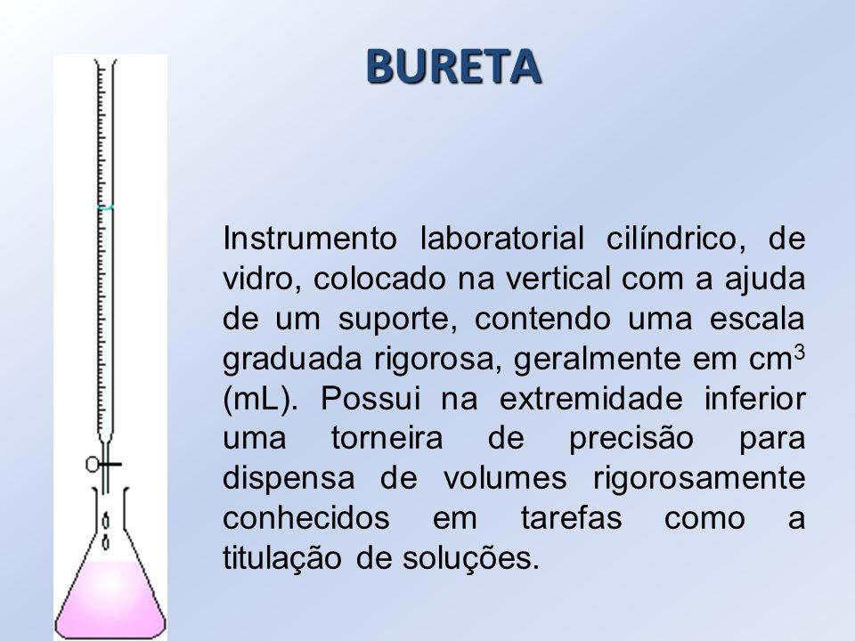 BURETA Instrumento laboratorial cilíndrico, de vidro, colocado na vertical com a ajuda de um suporte, contendo uma escala graduada rigorosa, geralment