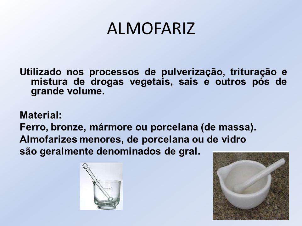 ALMOFARIZ Utilizado nos processos de pulverização, trituração e mistura de drogas vegetais, sais e outros pós de grande volume. Material: Ferro, bronz