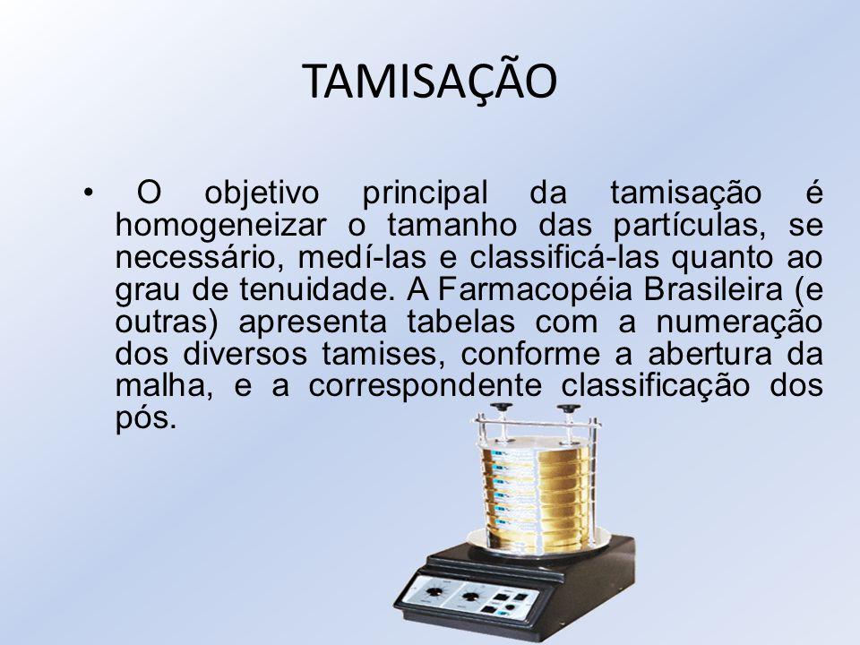 TAMISAÇÃO O objetivo principal da tamisação é homogeneizar o tamanho das partículas, se necessário, medí-las e classificá-las quanto ao grau de tenuid
