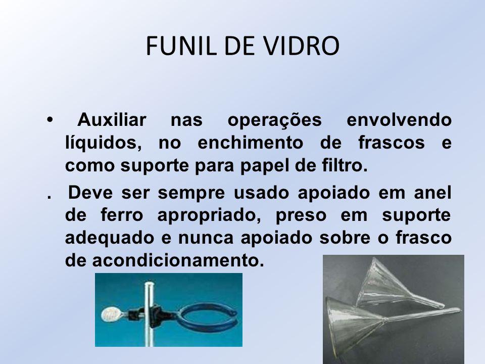 FUNIL DE VIDRO Auxiliar nas operações envolvendo líquidos, no enchimento de frascos e como suporte para papel de filtro.. Deve ser sempre usado apoiad