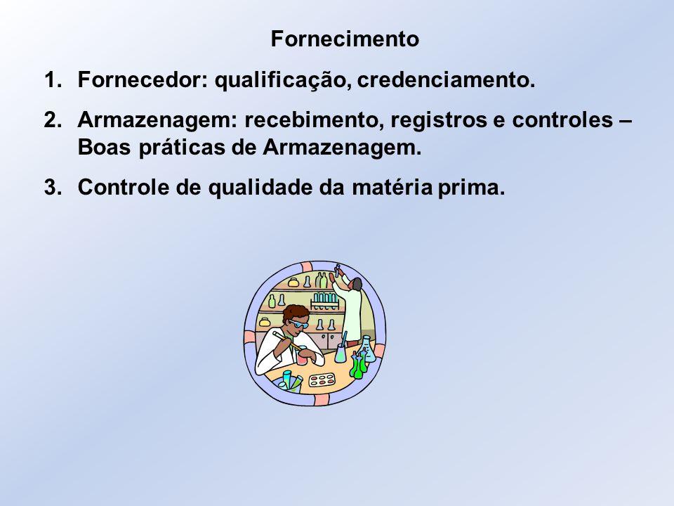 Fornecimento 1.Fornecedor: qualificação, credenciamento. 2.Armazenagem: recebimento, registros e controles – Boas práticas de Armazenagem. 3.Controle