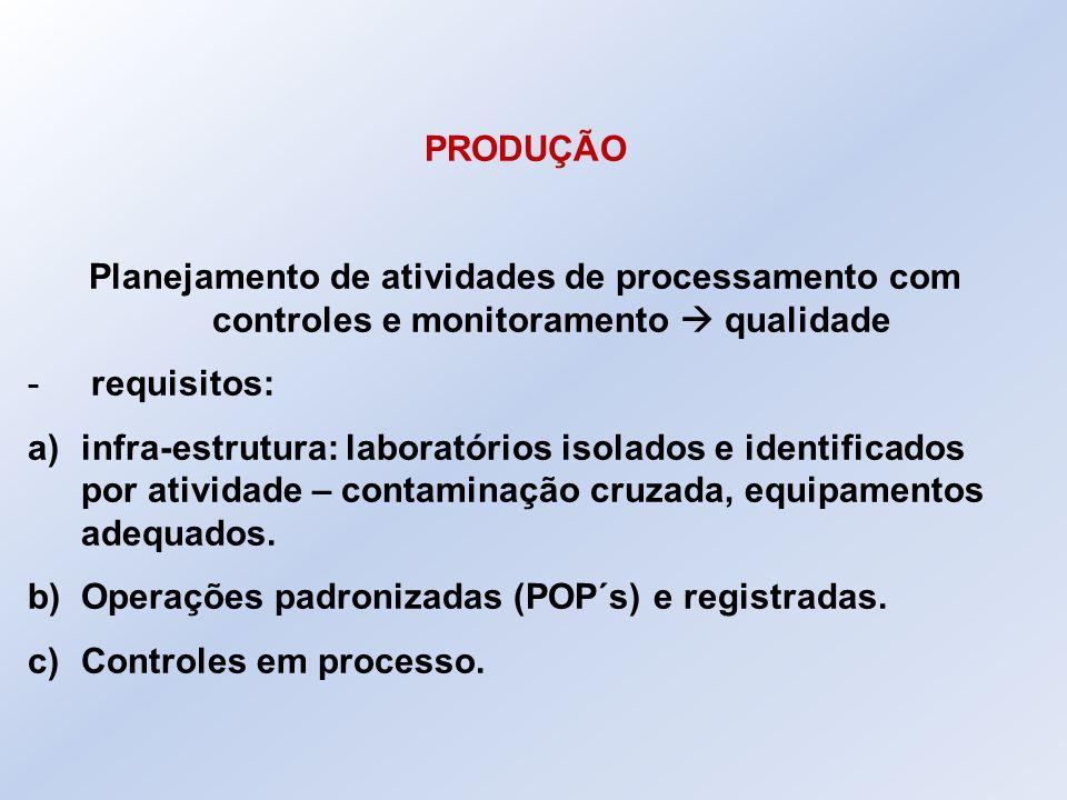 PRODUÇÃO Planejamento de atividades de processamento com controles e monitoramento  qualidade - requisitos: a)infra-estrutura: laboratórios isolados