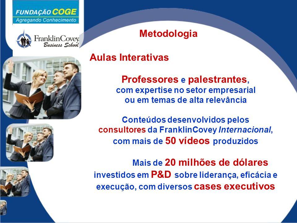 Aulas Interativas Professores e palestrantes, com expertise no setor empresarial ou em temas de alta relevância Conteúdos desenvolvidos pelos consulto