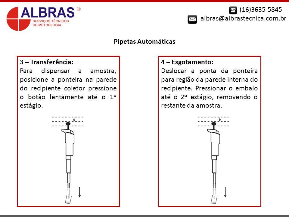 (16)3635-5845 albras@albrastecnica.com.br Pipetas Automáticas 3 – Transferência: Para dispensar a amostra, posicione a ponteira na parede do recipient
