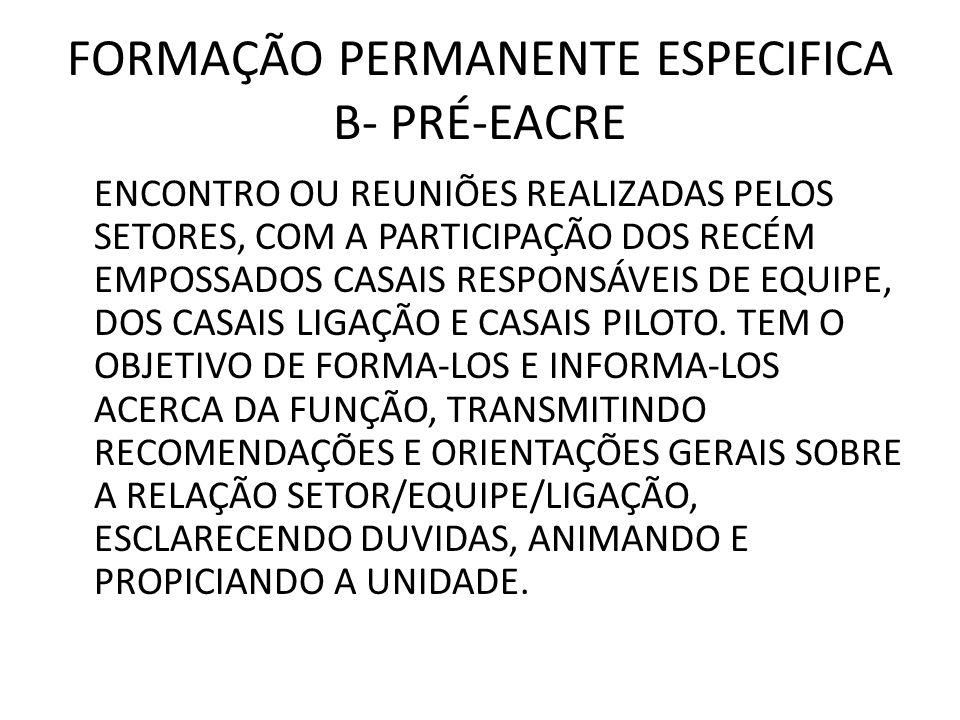 FORMAÇÃO PERMANENTE ESPECIFICA B- PRÉ-EACRE ENCONTRO OU REUNIÕES REALIZADAS PELOS SETORES, COM A PARTICIPAÇÃO DOS RECÉM EMPOSSADOS CASAIS RESPONSÁVEIS