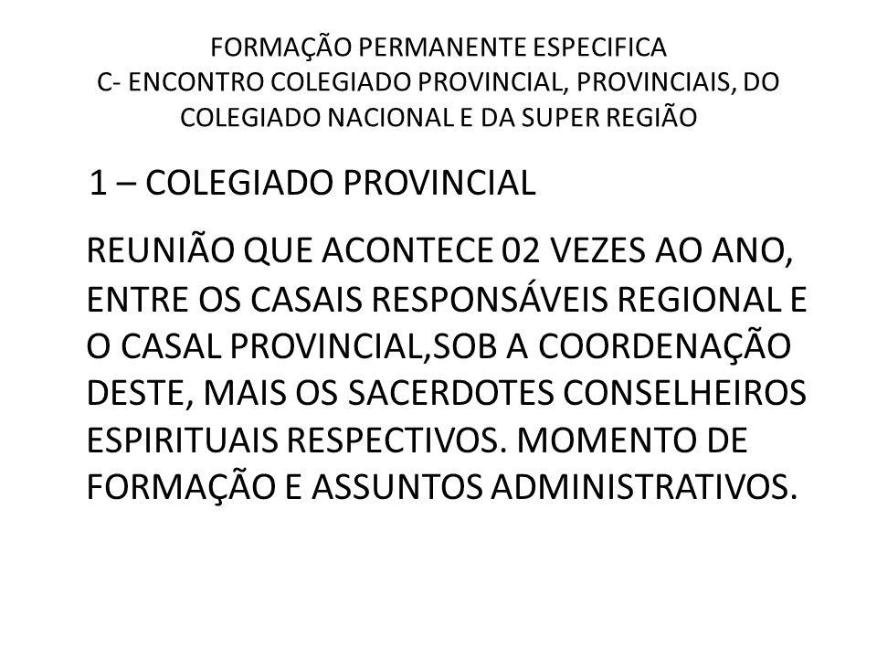 FORMAÇÃO PERMANENTE ESPECIFICA C- ENCONTRO COLEGIADO PROVINCIAL, PROVINCIAIS, DO COLEGIADO NACIONAL E DA SUPER REGIÃO 1 – COLEGIADO PROVINCIAL REUNIÃO