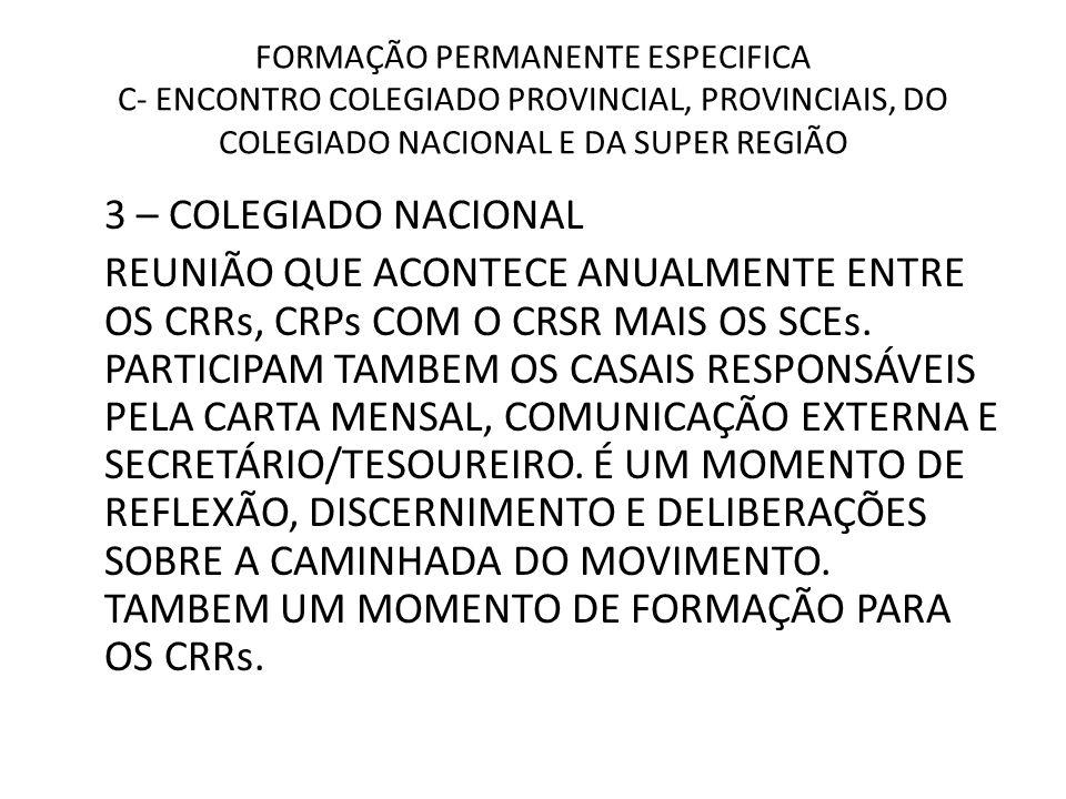 FORMAÇÃO PERMANENTE ESPECIFICA C- ENCONTRO COLEGIADO PROVINCIAL, PROVINCIAIS, DO COLEGIADO NACIONAL E DA SUPER REGIÃO 3 – COLEGIADO NACIONAL REUNIÃO Q