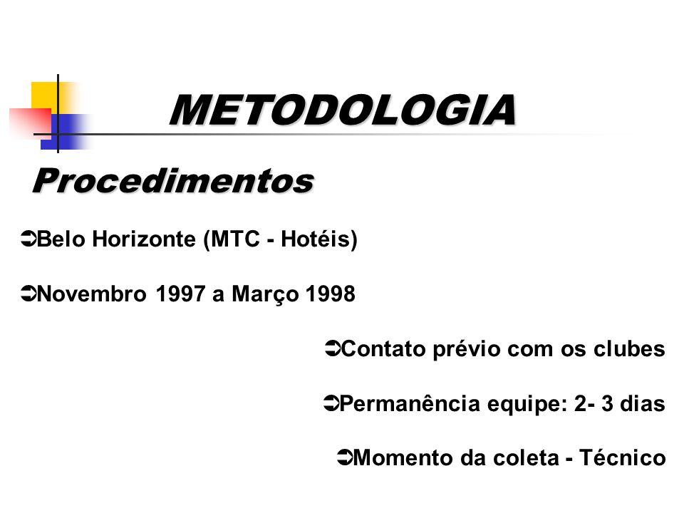 Procedimentos Deve- se citar como os dados foram coletados. 01 a 02 diapositivos  Belo Horizonte (MTC - Hotéis)  Novembro 1997 a Março 1998  Contat