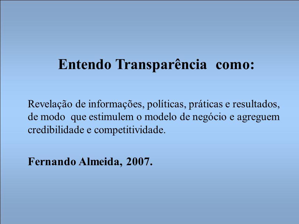 Entendo Transparência como: Revelação de informações, políticas, práticas e resultados, de modo que estimulem o modelo de negócio e agreguem credibilidade e competitividade.