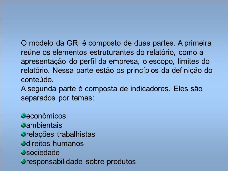 O modelo da GRI é composto de duas partes. A primeira reúne os elementos estruturantes do relatório, como a apresentação do perfil da empresa, o escop