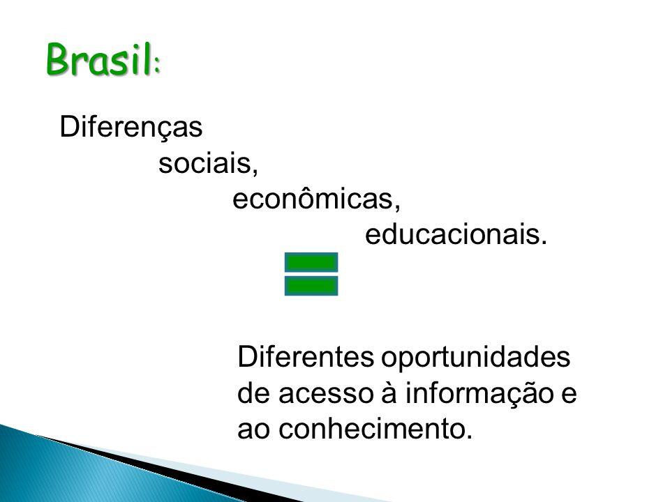 Diferenças sociais, econômicas, educacionais. Brasil : Diferentes oportunidades de acesso à informação e ao conhecimento.