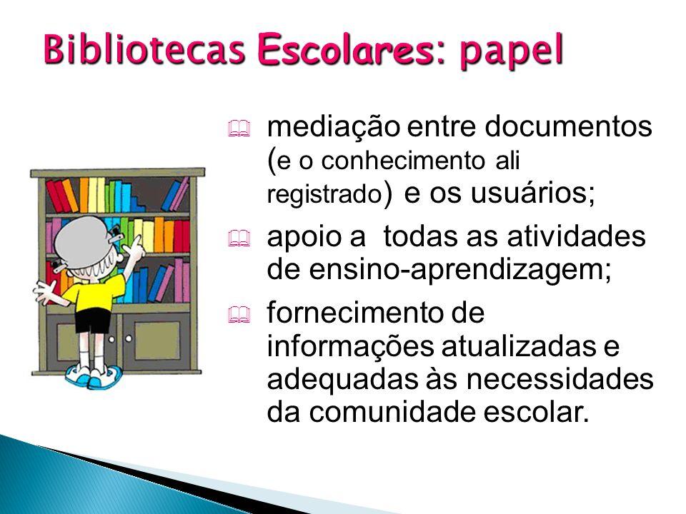  mediação entre documentos ( e o conhecimento ali registrado ) e os usuários;  apoio a todas as atividades de ensino-aprendizagem;  fornecimento de