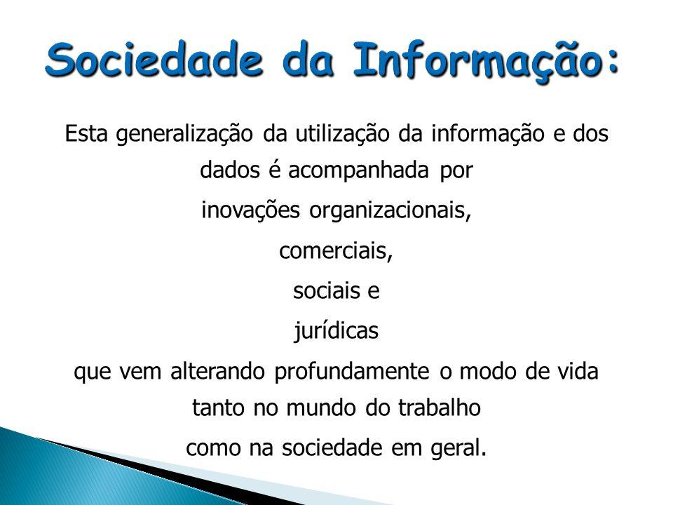 Esta generalização da utilização da informação e dos dados é acompanhada por inovações organizacionais, comerciais, sociais e jurídicas que vem altera