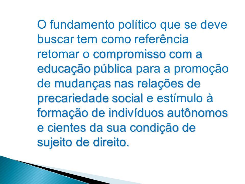 compromisso com a educação pública mudanças nas relações de precariedade social formação de indivíduos autônomos e cientes da sua condição de sujeito