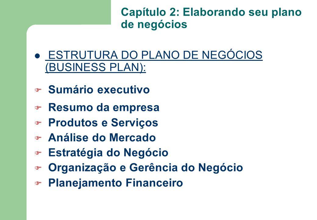 ESTRUTURA DO PLANO DE NEGÓCIOS (BUSINESS PLAN): F Sumário executivo F Resumo da empresa F Produtos e Serviços F Análise do Mercado F Estratégia do Neg