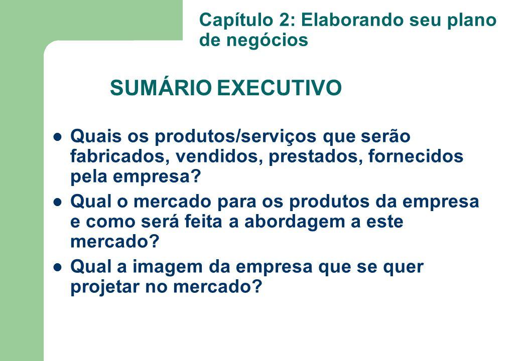 Quais os produtos/serviços que serão fabricados, vendidos, prestados, fornecidos pela empresa? Qual o mercado para os produtos da empresa e como será