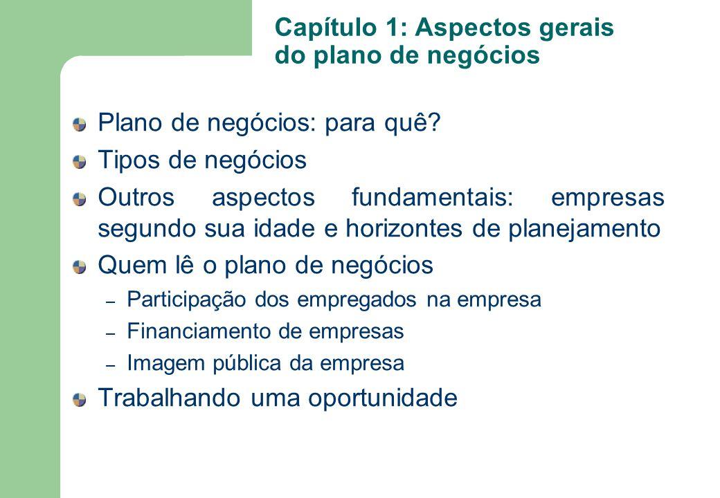 Capítulo 1: Aspectos gerais do plano de negócios Plano de negócios: para quê? Tipos de negócios Outros aspectos fundamentais: empresas segundo sua ida