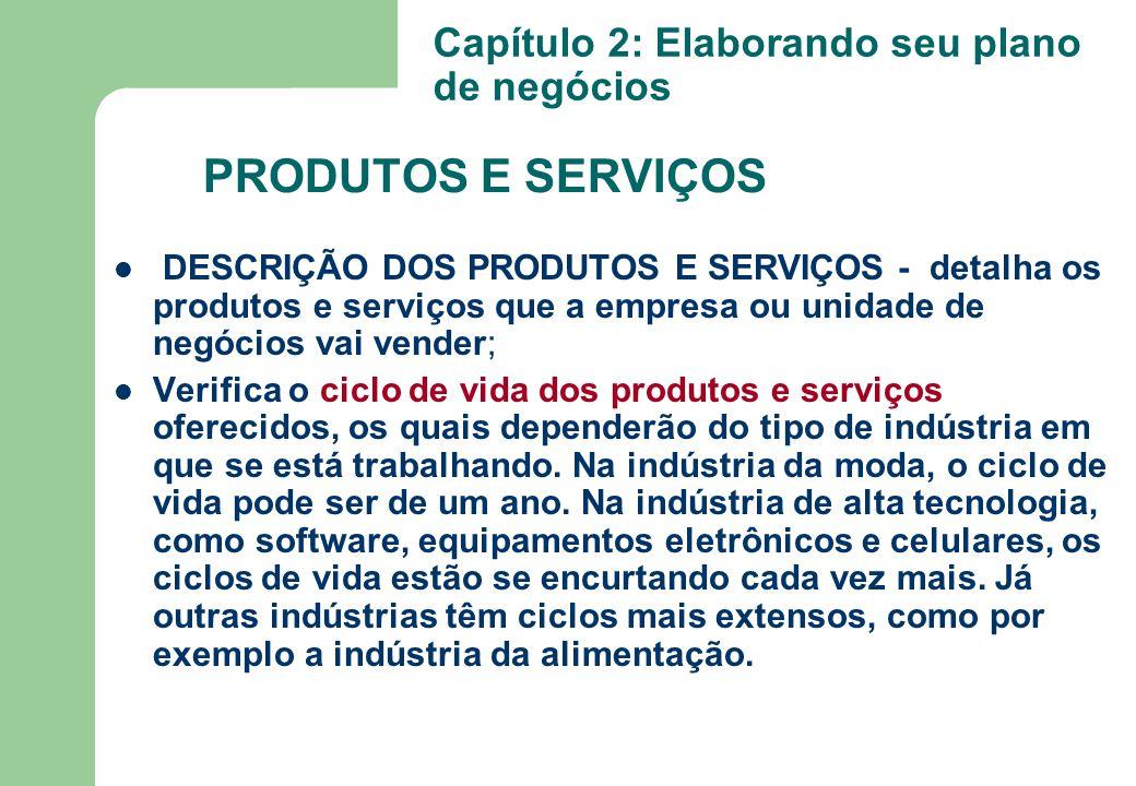 DESCRIÇÃO DOS PRODUTOS E SERVIÇOS - detalha os produtos e serviços que a empresa ou unidade de negócios vai vender; Verifica o ciclo de vida dos produ