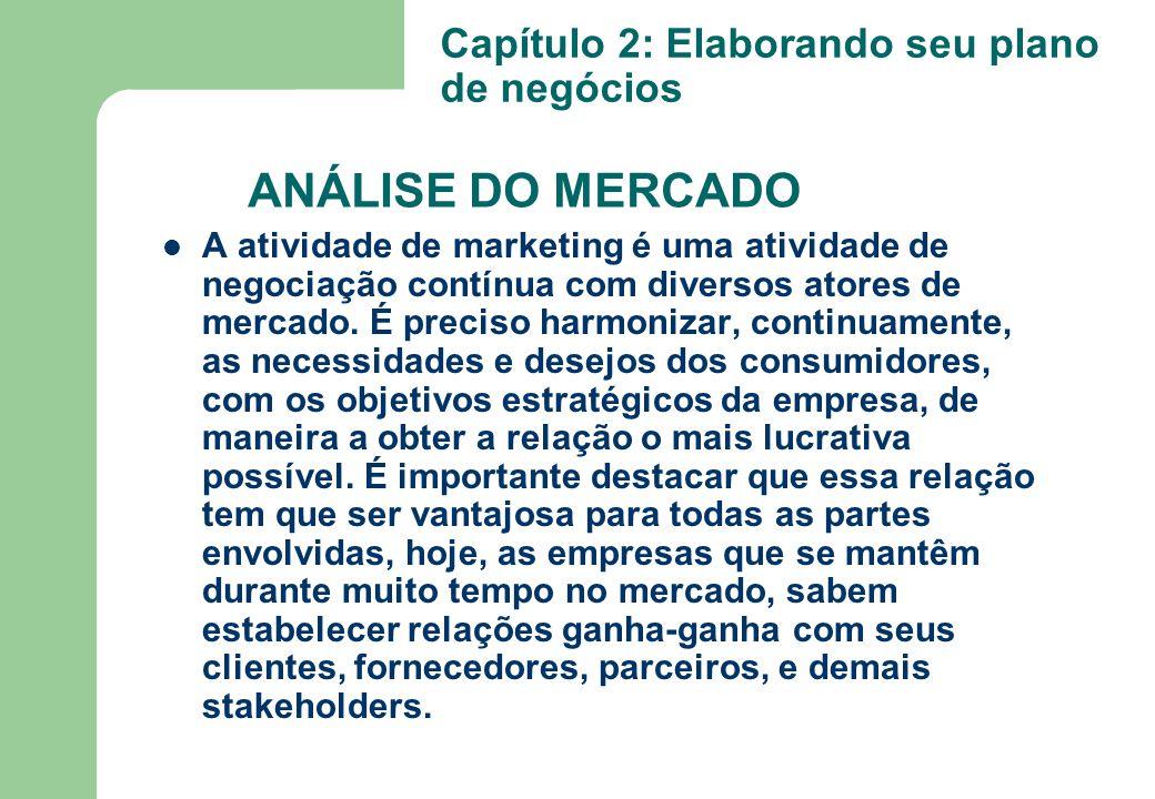 ANÁLISE DO MERCADO A atividade de marketing é uma atividade de negociação contínua com diversos atores de mercado. É preciso harmonizar, continuamente