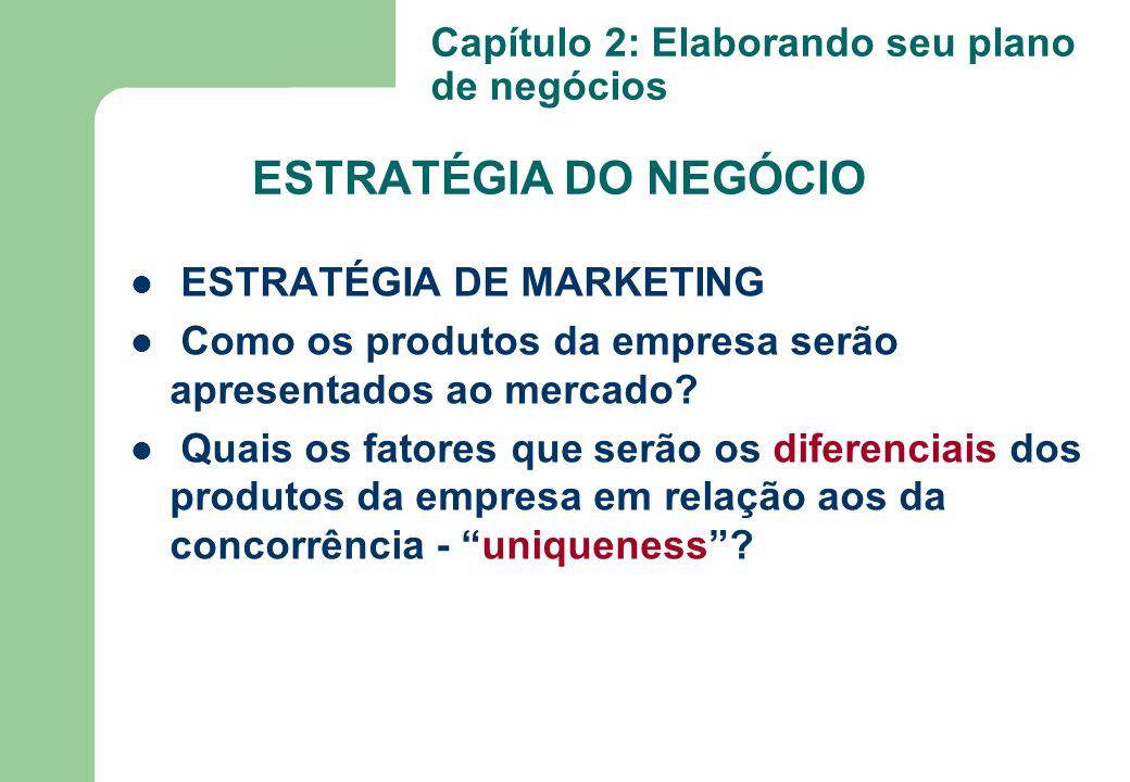 ESTRATÉGIA DE MARKETING Como os produtos da empresa serão apresentados ao mercado? Quais os fatores que serão os diferenciais dos produtos da empresa