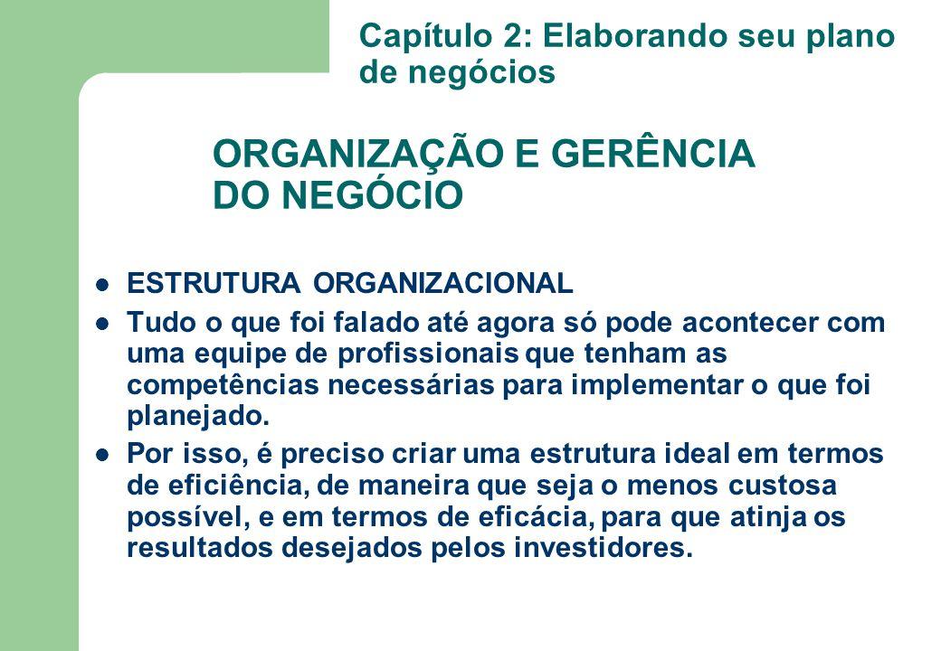 ORGANIZAÇÃO E GERÊNCIA DO NEGÓCIO ESTRUTURA ORGANIZACIONAL Tudo o que foi falado até agora só pode acontecer com uma equipe de profissionais que tenha