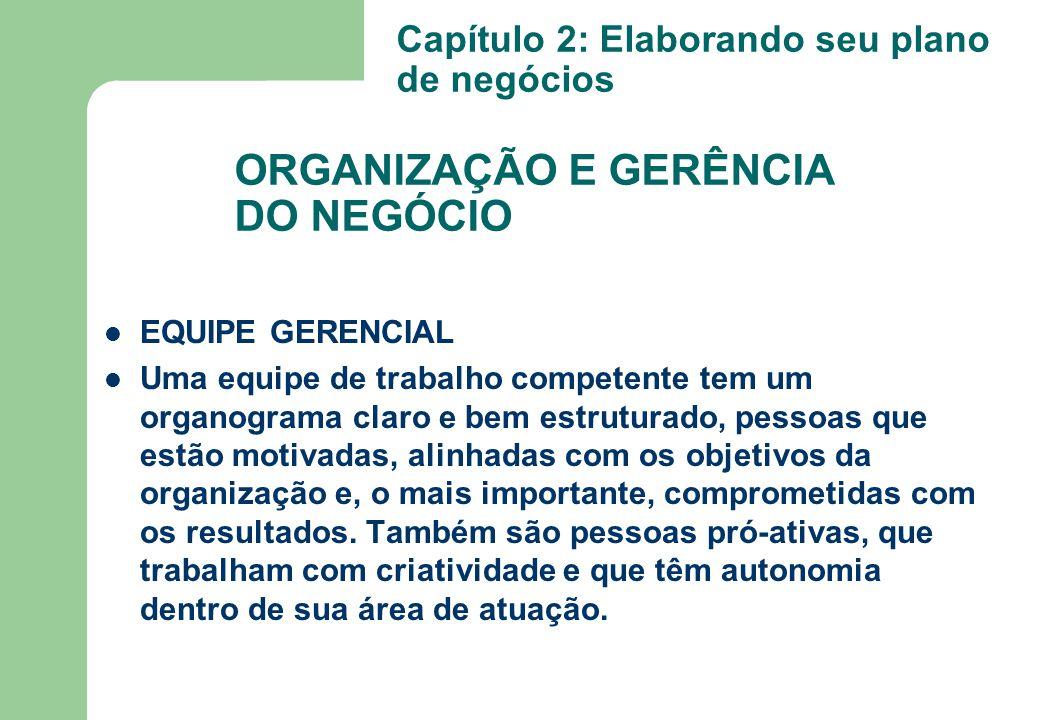 EQUIPE GERENCIAL Uma equipe de trabalho competente tem um organograma claro e bem estruturado, pessoas que estão motivadas, alinhadas com os objetivos