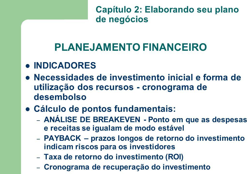 INDICADORES Necessidades de investimento inicial e forma de utilização dos recursos - cronograma de desembolso Cálculo de pontos fundamentais: – ANÁLI