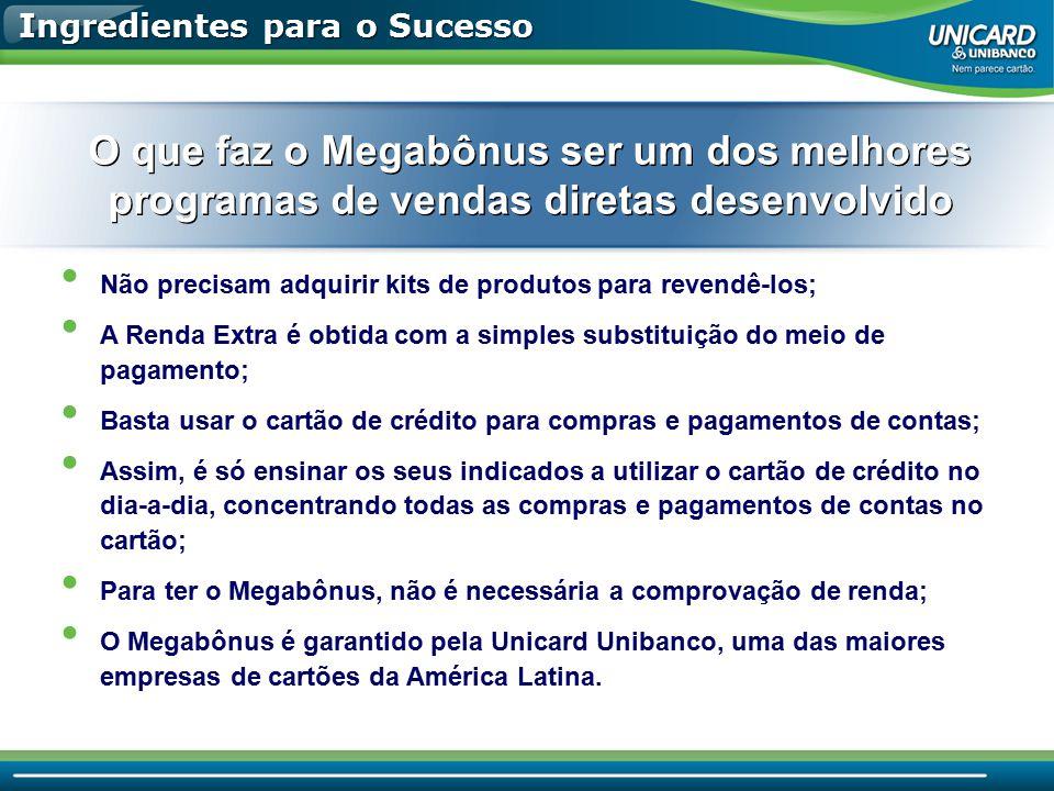 Ingredientes para o Sucesso Não precisam adquirir kits de produtos para revendê-los; A Renda Extra é obtida com a simples substituição do meio de paga