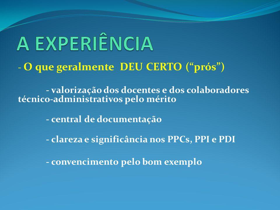 - O que geralmente DEU CERTO ( prós ) - valorização dos docentes e dos colaboradores técnico-administrativos pelo mérito - central de documentação - clareza e significância nos PPCs, PPI e PDI - convencimento pelo bom exemplo