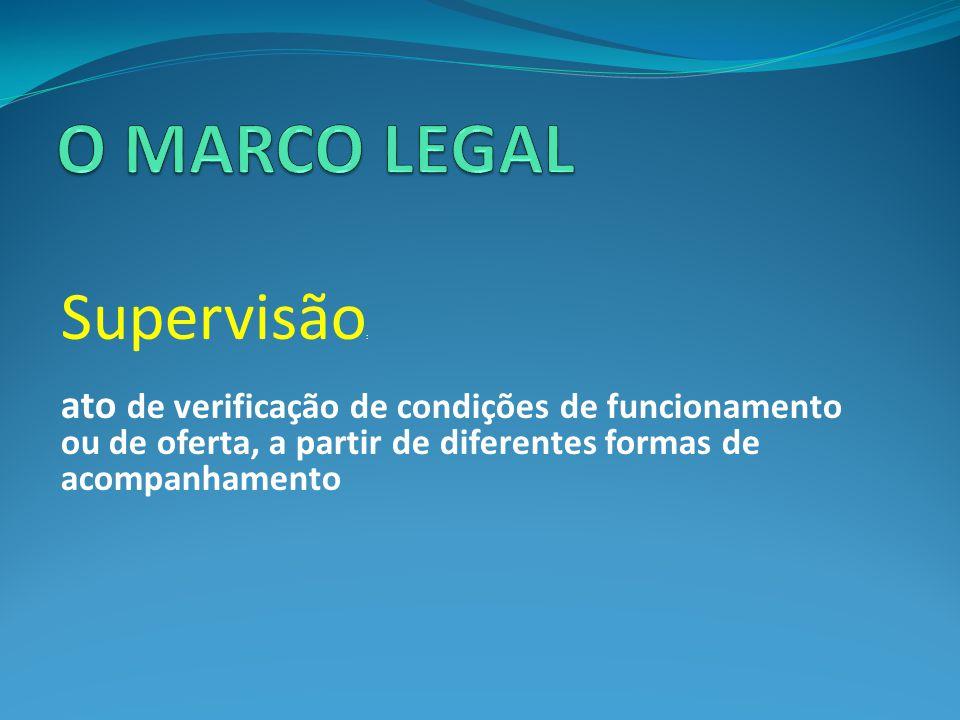 Supervisão : ato de verificação de condições de funcionamento ou de oferta, a partir de diferentes formas de acompanhamento