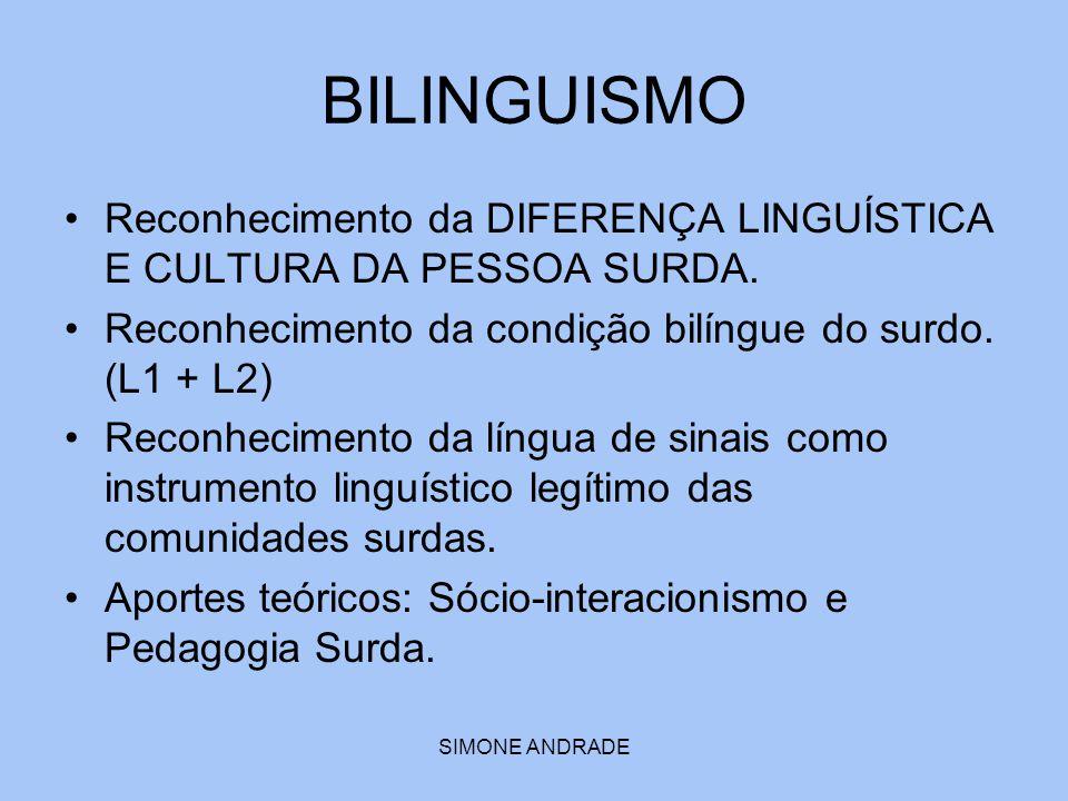 SIMONE ANDRADE BILINGUISMO Reconhecimento da DIFERENÇA LINGUÍSTICA E CULTURA DA PESSOA SURDA. Reconhecimento da condição bilíngue do surdo. (L1 + L2)