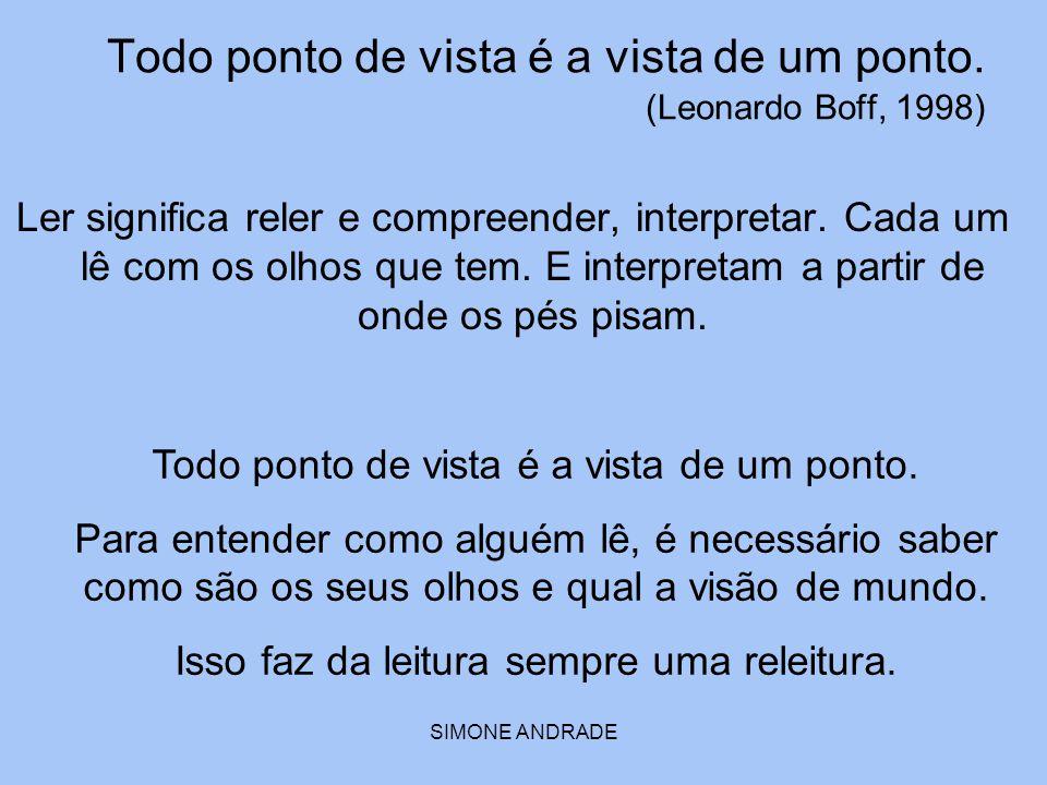 SIMONE ANDRADE Todo ponto de vista é a vista de um ponto. (Leonardo Boff, 1998) Ler significa reler e compreender, interpretar. Cada um lê com os olho