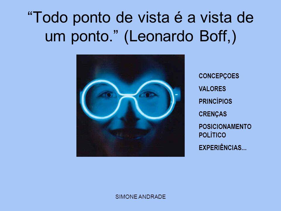 """SIMONE ANDRADE """"Todo ponto de vista é a vista de um ponto."""" (Leonardo Boff,) CONCEPÇOES VALORES PRINCÍPIOS CRENÇAS POSICIONAMENTO POLÍTICO EXPERIÊNCIA"""