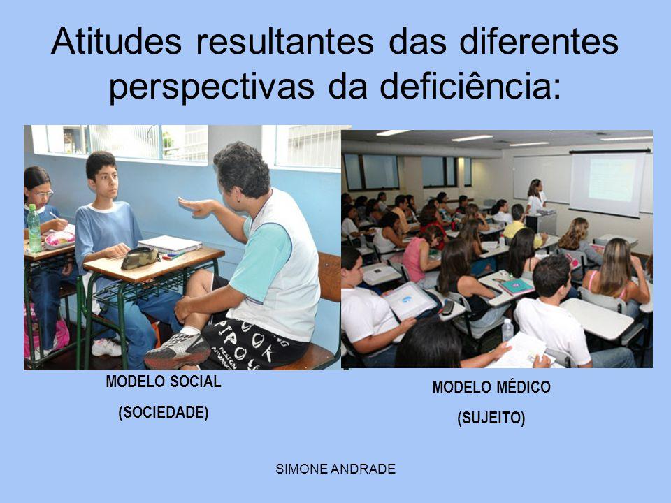 SIMONE ANDRADE Atitudes resultantes das diferentes perspectivas da deficiência: MODELO MÉDICO (SUJEITO) MODELO SOCIAL (SOCIEDADE)
