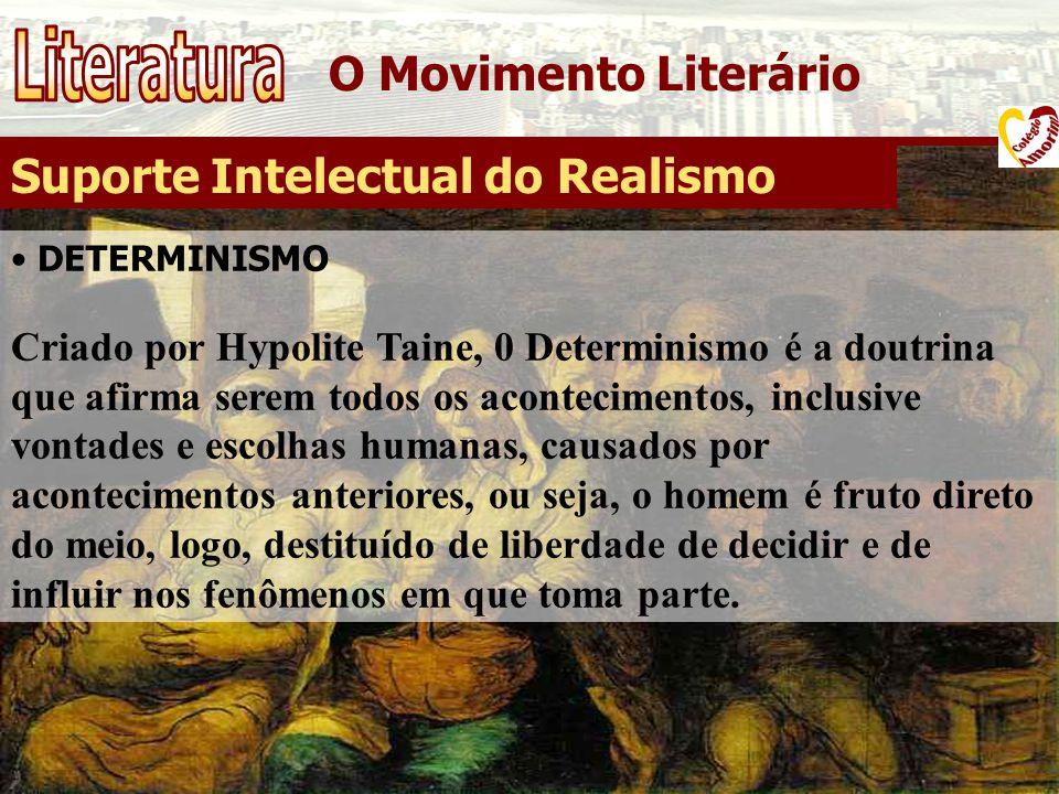 O Movimento Literário Suporte Intelectual do Realismo DETERMINISMO Criado por Hypolite Taine, 0 Determinismo é a doutrina que afirma serem todos os ac