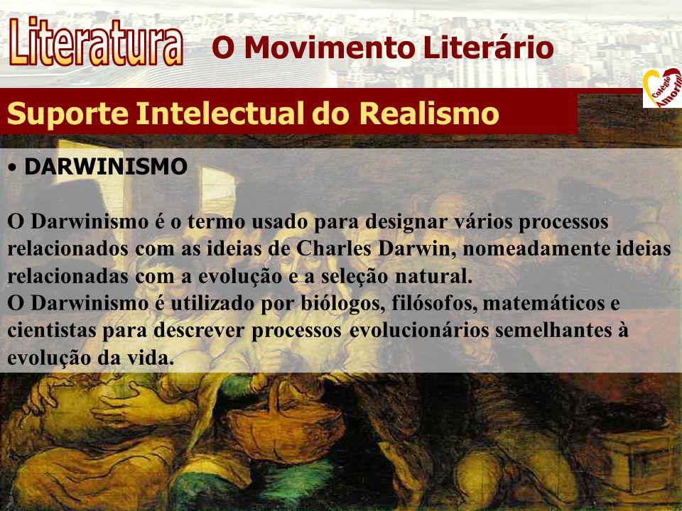 O Movimento Literário Suporte Intelectual do Realismo DARWINISMO O Darwinismo é o termo usado para designar vários processos relacionados com as ideia