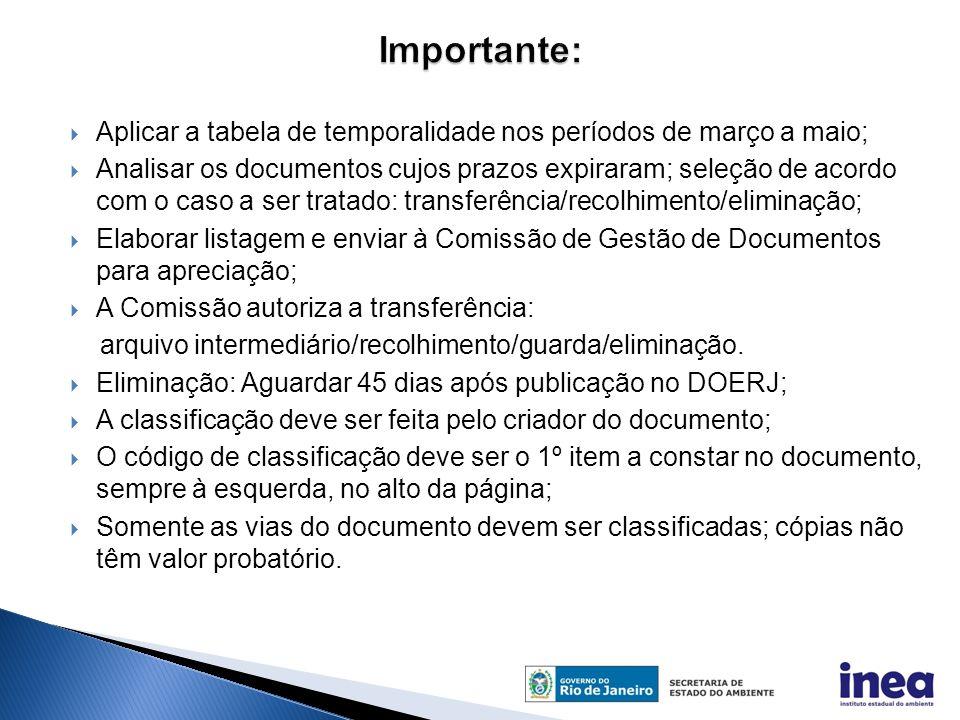  Aplicar a tabela de temporalidade nos períodos de março a maio;  Analisar os documentos cujos prazos expiraram; seleção de acordo com o caso a ser