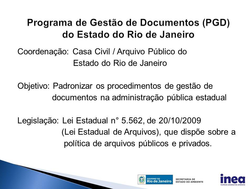 Coordenação: Casa Civil / Arquivo Público do Estado do Rio de Janeiro Objetivo: Padronizar os procedimentos de gestão de documentos na administração pública estadual Legislação: Lei Estadual n° 5.562, de 20/10/2009 (Lei Estadual de Arquivos), que dispõe sobre a política de arquivos públicos e privados.
