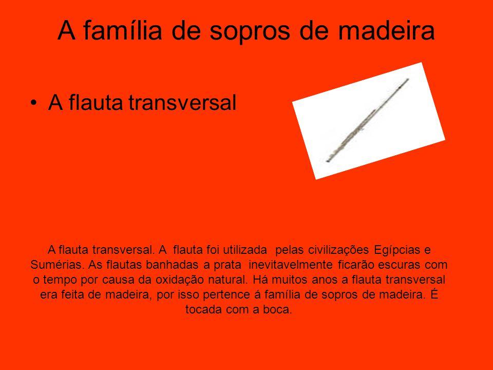 A família de sopros de madeira A flauta transversal A flauta transversal. A flauta foi utilizada pelas civilizações Egípcias e Sumérias. As flautas ba